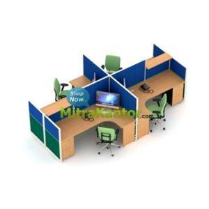 Partisi Kantor Murah, Partisi Kantor 4 Staff Uno Premium Konfigurasi 26 C
